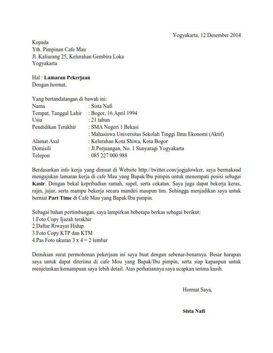 Contoh Surat Lamaran Kerja Di Indomaret Dan Alfamart