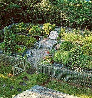 vegetable garden; picket fence with stepstones