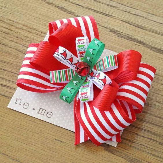 Arco del pelo de Navidad bastón de caramelo rojo por nemehairbows