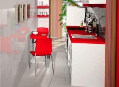 Cocina larga y estrecha cocinas pasillo pinterest for Cocina larga y angosta