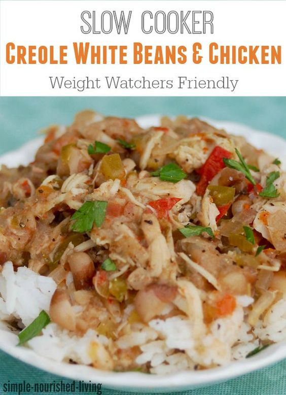 skinny healthy slow cooker creole chicken and white beans for weight ...