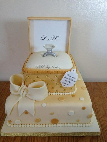 Engagement Cake Decorations : Gold ring box ~ all cake. So pretty! Great fondant work ...
