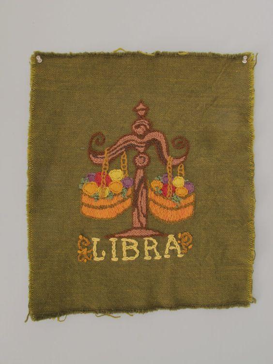 Retro Libra Embroidery 60s Handmade Crewel Wall by SoSylvie