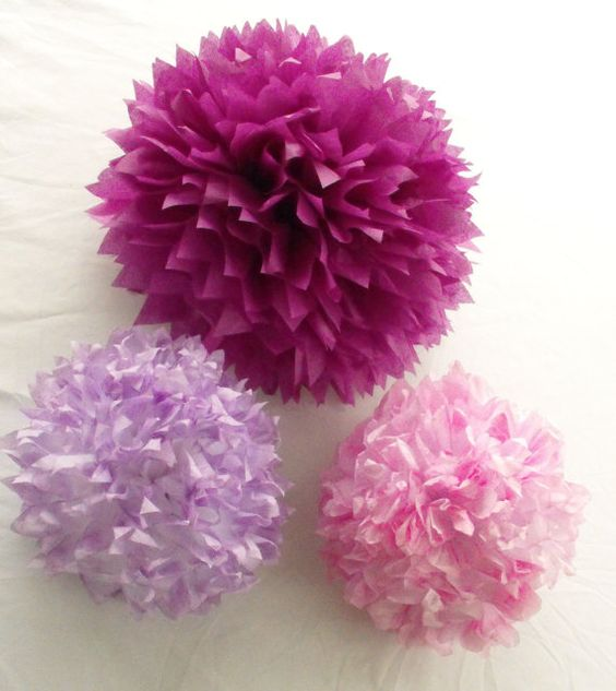Berry Sweet Purple And Fuchsia Poms For Baby Nursery Or Shower Decorations