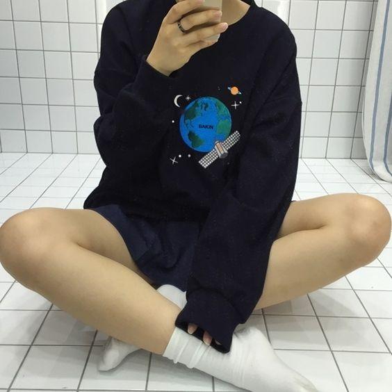 2015 femmes sweat femmes Coréennes de L'institut de l'espace et terre imprimer…