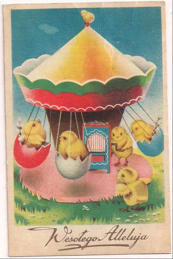 Polish Easter postcard....chicks on a amusement park ride.: