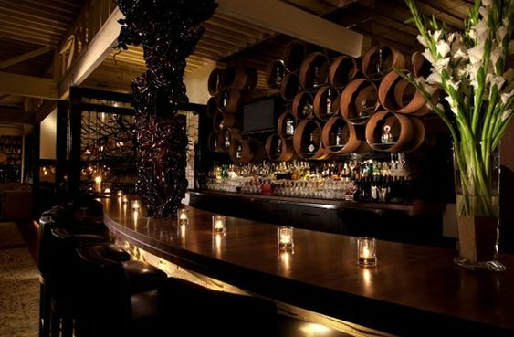 Sophisticated and elegant bar interior design of red o for Interior design los angeles