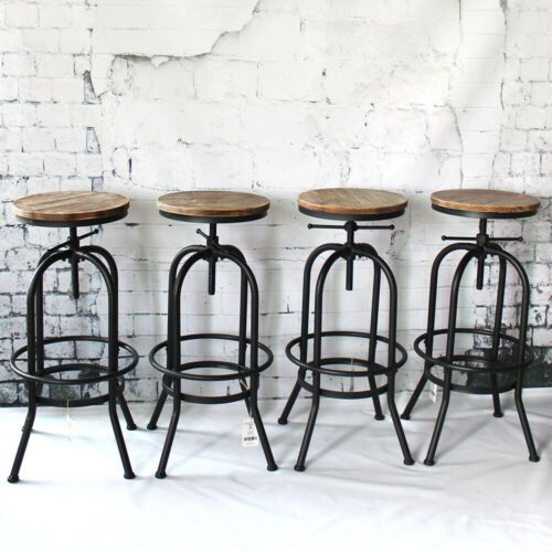 Details Sur Lot De 4 Tabouret De Bar Cafe Industriel Hauteur Reglable Bois Metal Chaise Y9g9 En 2020 Chaise Cuisine Tabouret Et Tabouret Cuisine
