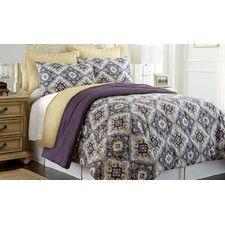 Zoie 6 Piece Comforter Set in Purple, Gray, Brown & Yellow