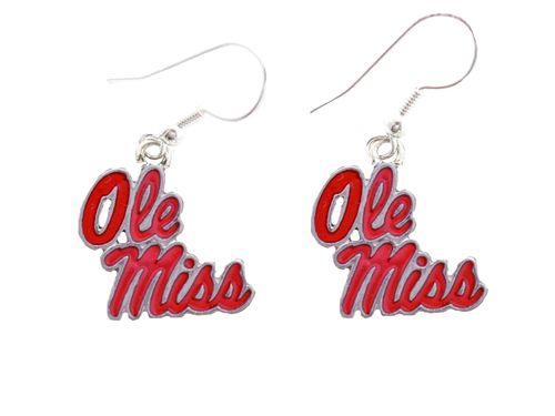 Mississippi Ole Miss Rebels Iridescent Silver Charm French Hook Earring Jewelry