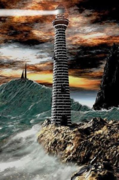 "Lighthouse painting--""Stormy Sea"""