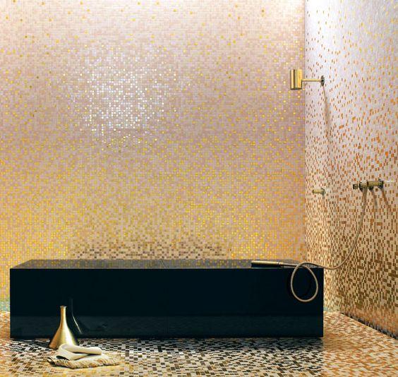 Bisazza gold pink tesserae glass mosaic tiles for Bisazza bathroom ideas