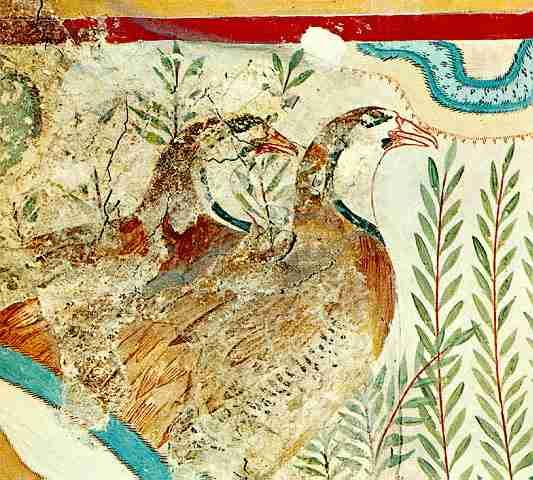 This beautiful fresco was found in a small house northwest of the palace with richly decorated walls. It is called the House of the Frescoes.    The second fresco is in the Caravanserai, a probable reception hall at the south of the palace. Some of the rooms have baths and the walls are decorated with wall paintings.