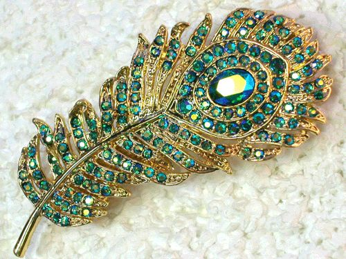 EMERALD COLOR AB PEACOCK FEATHER PIN BROOCH C569