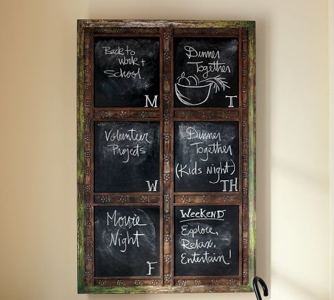 great chalk board! This sort of item could be made out of an old window with 6 panes...