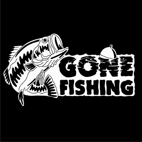 Gone fishing bass vinyl decal painted coolers for Fishing vinyl decals