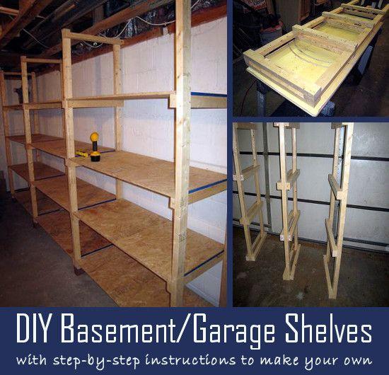 Garage shelf diy storage shelves and garage storage for Finishing a basement step by step guide