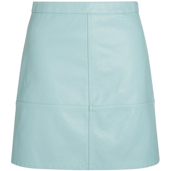 Mint Green Leather-Look Mini Skirt (353.915 IDR) ❤ liked on ...