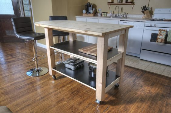How to build diy kitchen island on wheels diy how to review videos pinterest wheels - Portable kitchen island plans ...