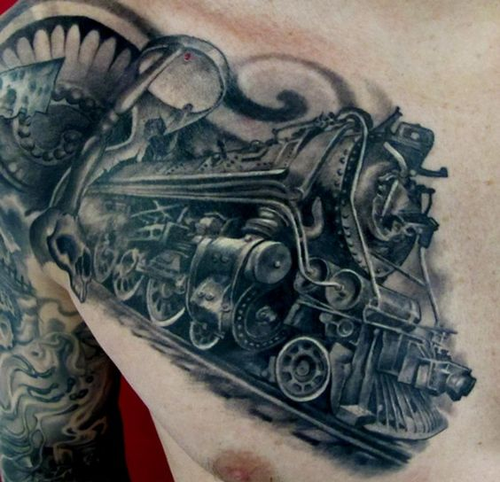 Train tattoo trains and chest piece on pinterest for Crazy train tattoos