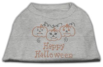 Mirage Pet Dog Cat Apparel Happy Halloween Rhinestone Shirts Grey XXL (18)