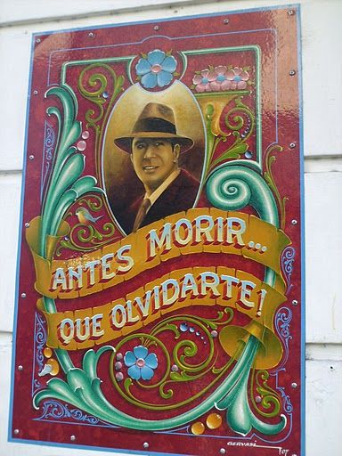 Feria San Telmo - Carlos Gardel. Hand painted sign in Buenos Aires.