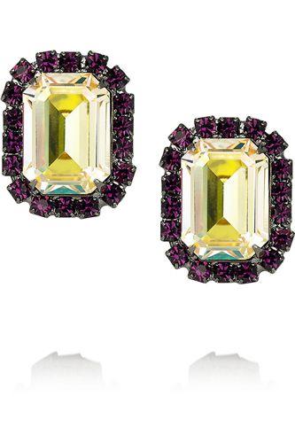 Gunmetal-plated Swarovski crystal earrings