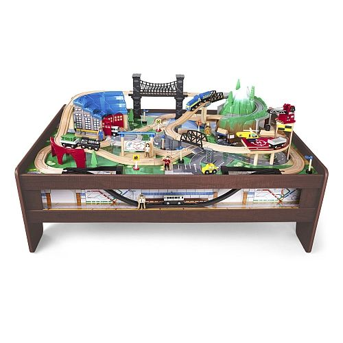 Imaginarium Metro Line 100 Piece Train Table Espresso Santastoyhouse Img 1 Train Table Wooden Train Table Model Train Table