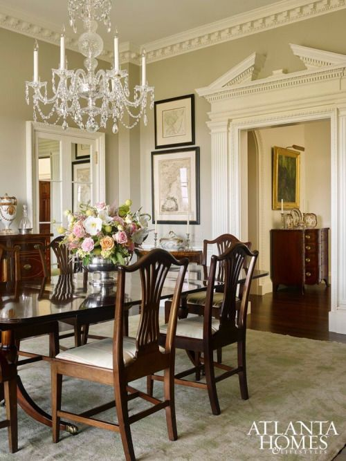 Southern Style dining room with traditional dining table antique dining tables
