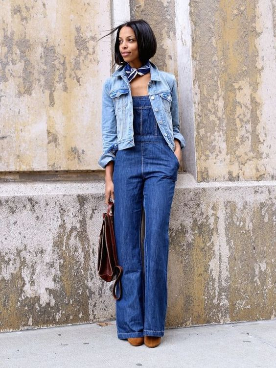 {the look} denim on denim overalls
