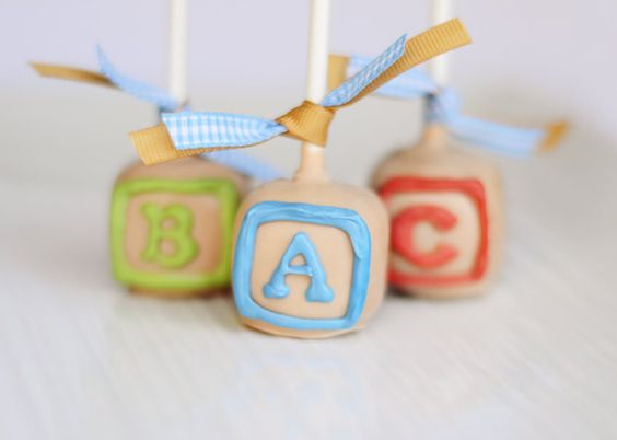 ABC Baby Shower Block cake pop by EntirelySweet on Etsy OR HOMEMADE