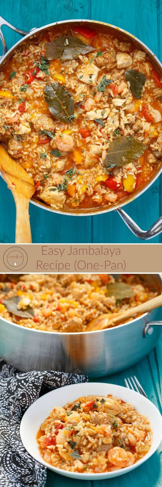 Easy Jambalaya Recipe | http://thecookiewriter.com | @thecookiewriter | #onepan | This one pot dinner is packed full of sausage, shrimp, and chicken! Great way to use up leftover rice!