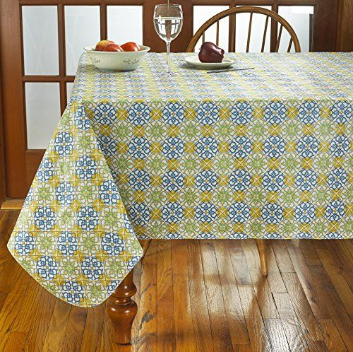 Mosaic Heavy Weight Vinyl Tablecloth With Soft Flannel Backing 60 Vinyl Tablecloth Soft Flannel Table Cloth