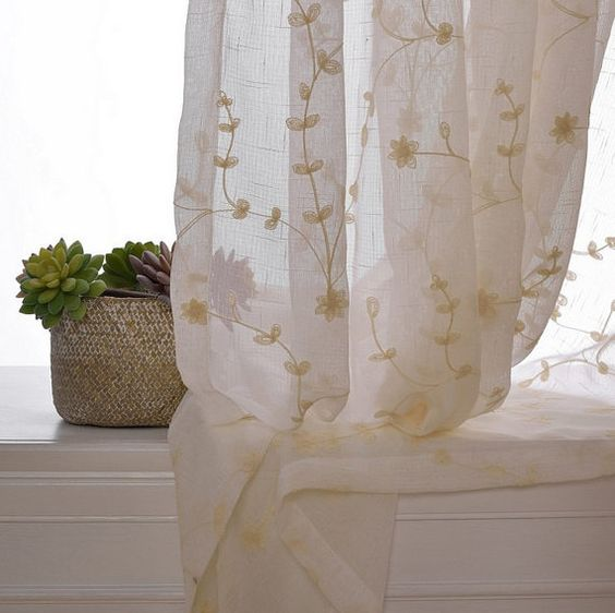 Sheer Curtain Voile Panel With Cotton Embroidery Pattern. One ...