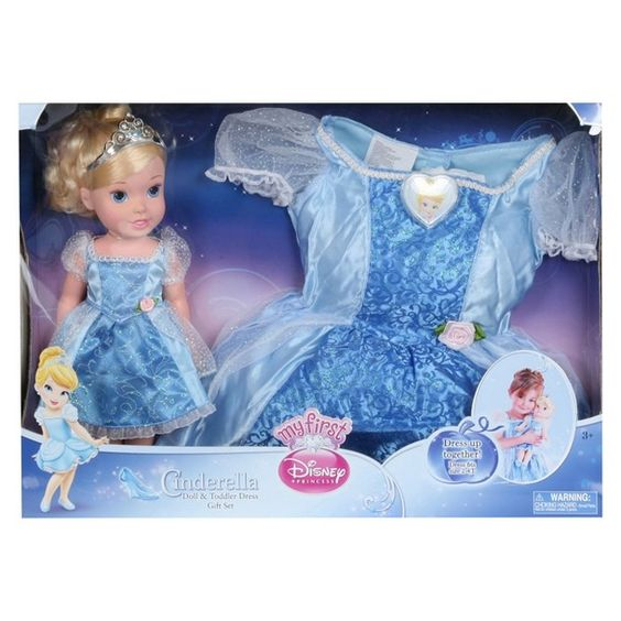 Disney Princess Toddler Doll Cinderella: Disney Princess Cinderella Doll & Toddler Dress Gift Set