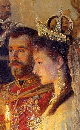 Detail of Tuxen's painting of the marriage of Tsar Nicholas II and Alexandra Feodorovna, 26 November 1894. The marriage that began that night remained exceptionally close until the pair was assassinated simultaneously in 1918. It was a Victorian marriage, outwardly serene and proper, but based on intensely passionate physical love.: