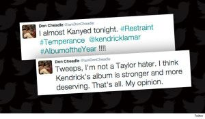 Don Cheadle may have thought Kendrick Lamar was robbed at the Grammys, but he never would have jumped onstage Kanye style to jack Taylor Swift's moment … because that would be classless. Our photog got Don at LAX Tuesday and it seems the actor wants to move on from his Grammys tweet. Don thinks Taylor's …