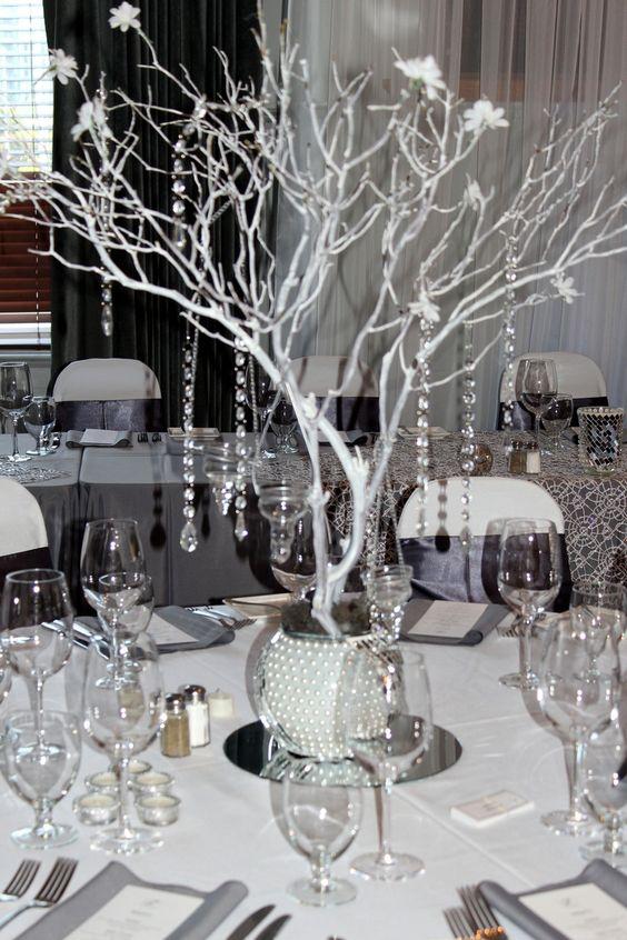 Black gray and bling wedding manzanita centerpiece grey