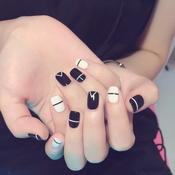 Cheap false nails french, Buy Quality false nails directly from China full nails Suppliers: Simple style white and black geometry false nails french 24pcs with glue cute fake nails short size lady full nail tips Nail art