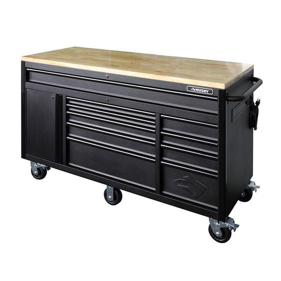 Husky 60 in. 10-Drawer Mobile Workbench, Textured Black Matte-HOLC6010BB1M - The Home Depot