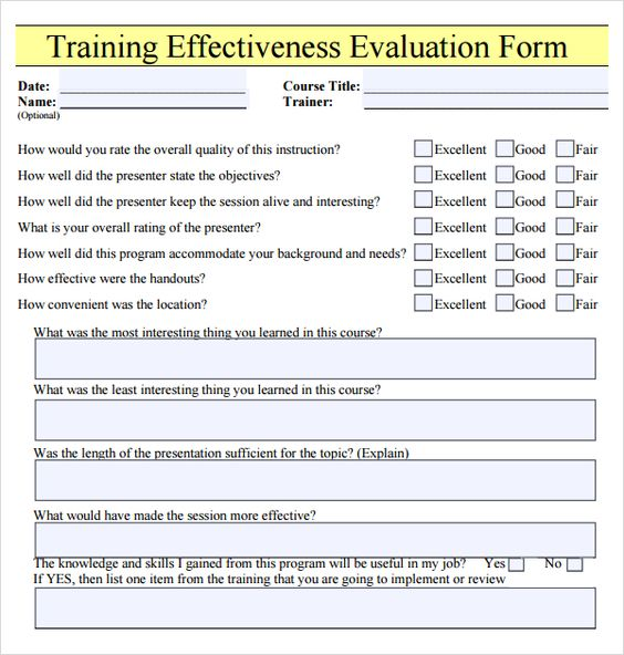 Training Evaluation Forms Templates Best Photos Of Fire Instructor