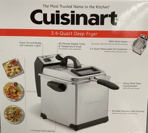 Fryers 185033 Cuisinart Deep Fryer 3 4 Quart 1800 Watt Brushed
