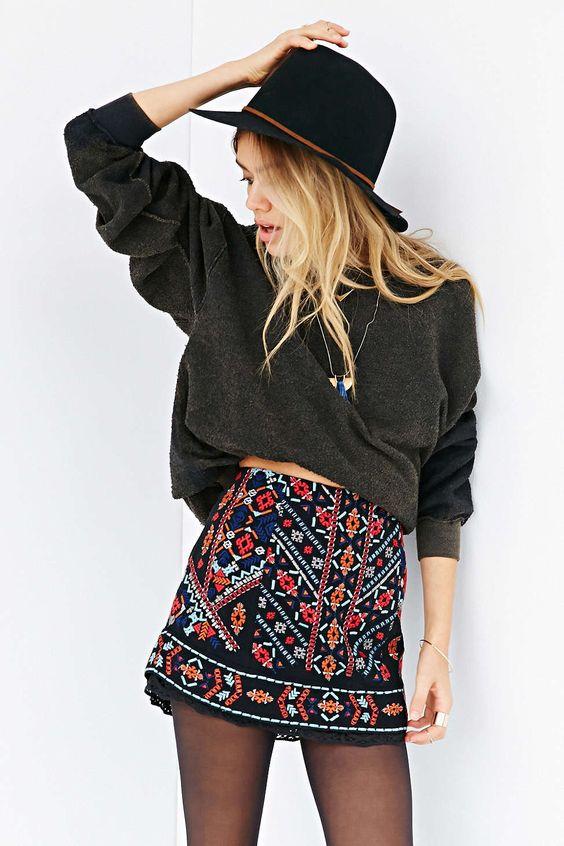 Ecote Nattie Embroidered Mini Skirt #UrbanOutfitters
