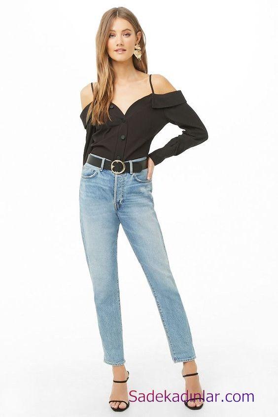 Siyah Gomlek Kombinleri Bayan Mavi Kot Pantolon Siyah Askili Omuz Dekolteli Uzun Kol Gomlek Siyah Topuklu Ayakkabi Pantolon Moda Kot Gomlek