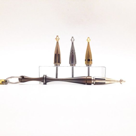 Magnetic Spike Necklace - Stainless Steel / Brass Tipped Spire Harpoon Dart Necklace - Hand made