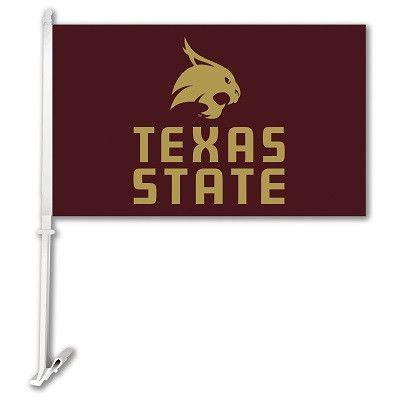 Car Flag W/Wall Brackett Texas State Bobcats - 37295