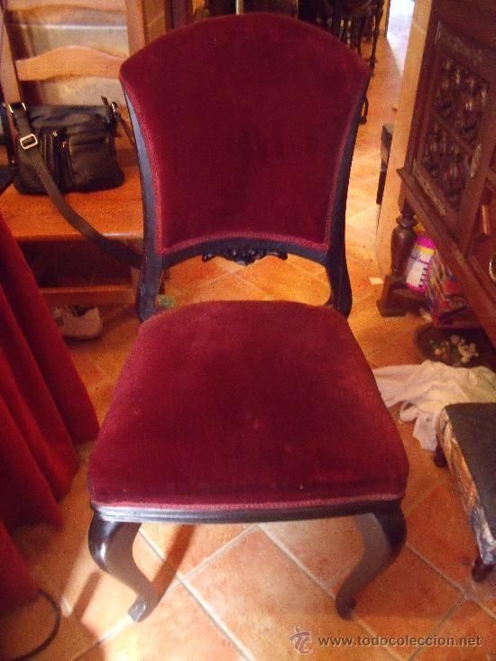 Antigua silla de madera de caoba en terciopelo burdeo - Sillas antiguas de madera ...