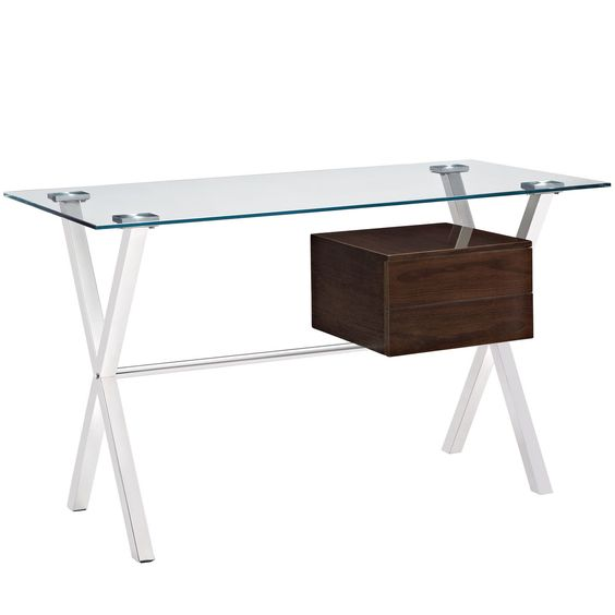 Keep your thoughts flowing with the Stasis modern office desk. Suspended by a polished stainless steel frame, the right drawer artfully stands out from the otherwise transparent piece.