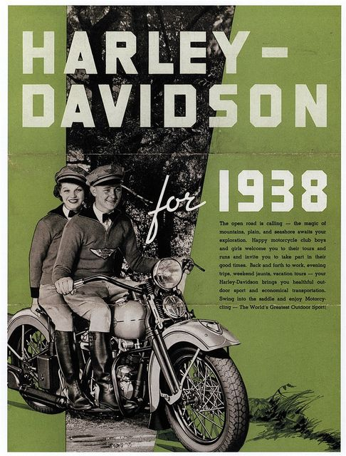 Advertising; Harley Davidson vintage advertisement from 1938   #Wisconsin #advertising #vintage