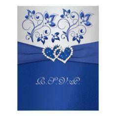 Pretty royal blue wedding invitation